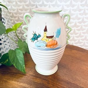 Painted House Plants Italian Squiggly Handle Vase